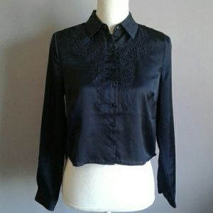 UO Cooperative Cropped Satin Blouse